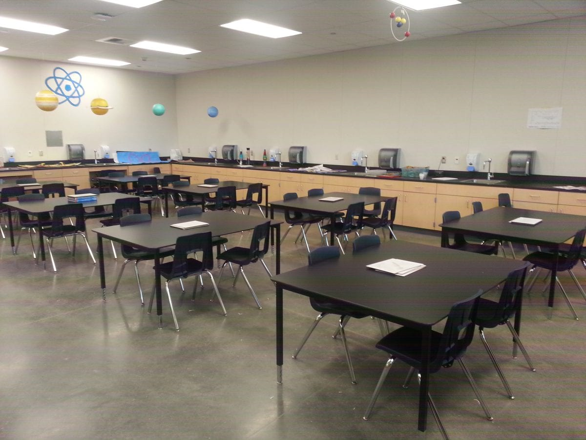 Inside a classroom with a lab classroom