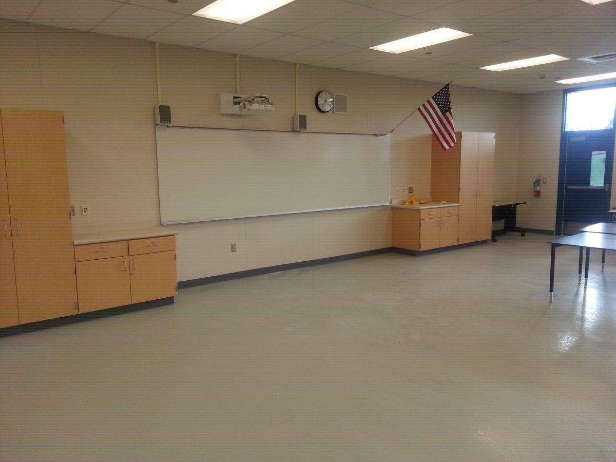 Empty classroom with white board
