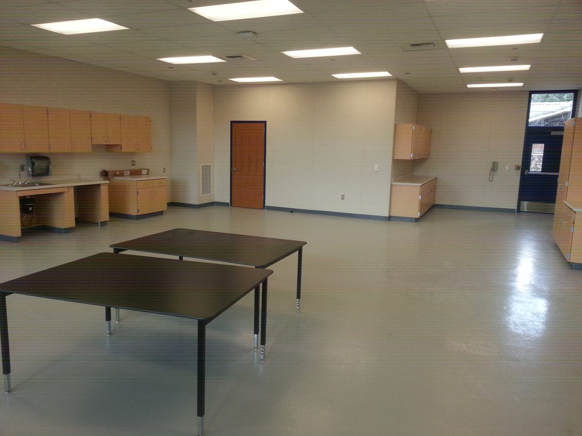 Rear view of an empty classroom