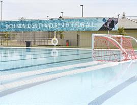 Water polo net inside pool