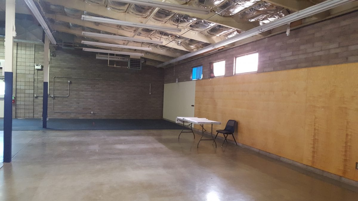 Inside of an empty building before ceilings are put in