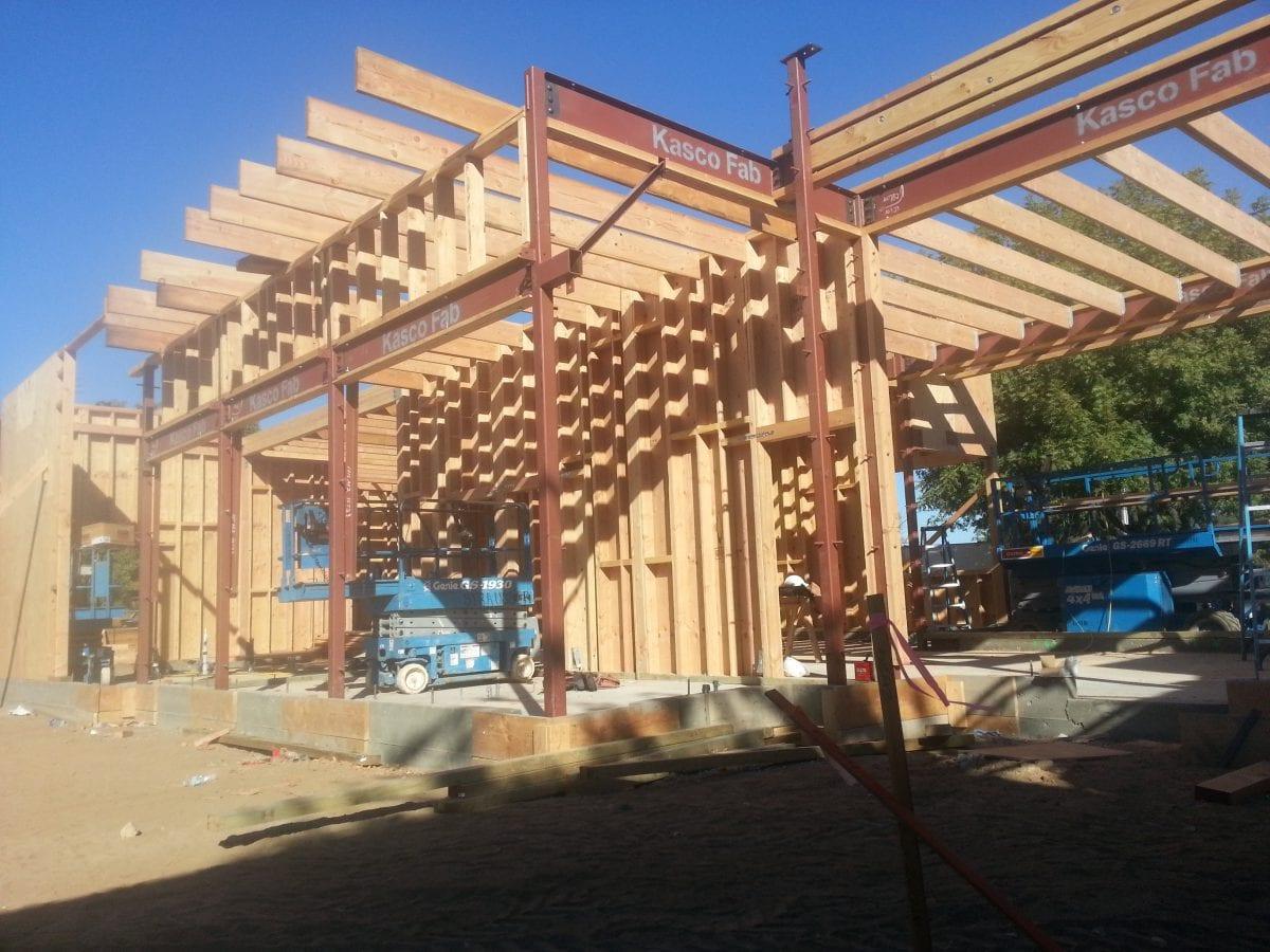 Half done foundation building with scissor lift inside 10/16