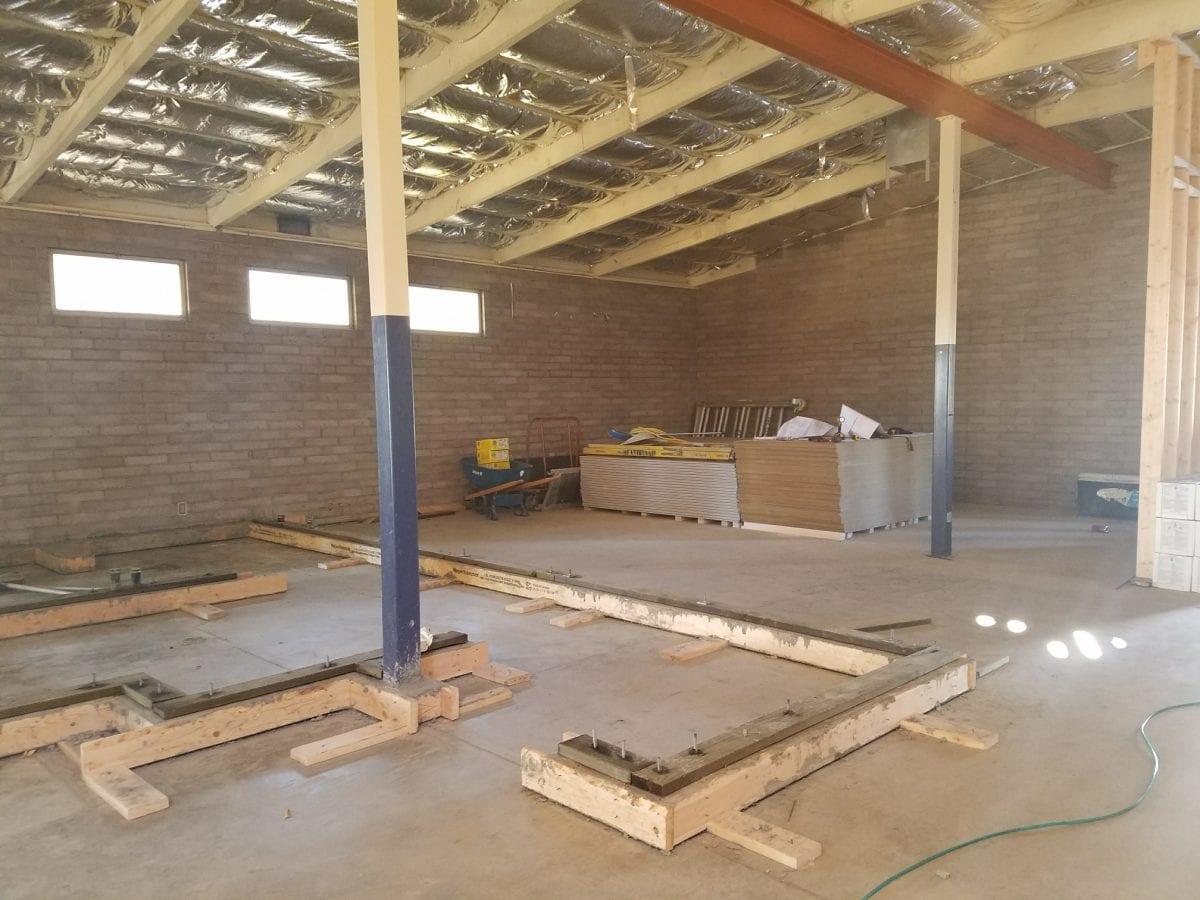 Foundation for waist-height walls on flooring