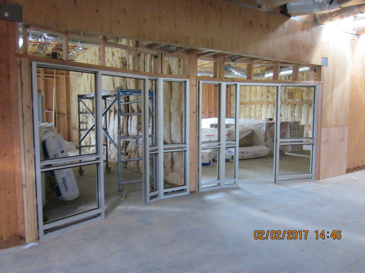 Inside building with fiberglass in walls 2/17