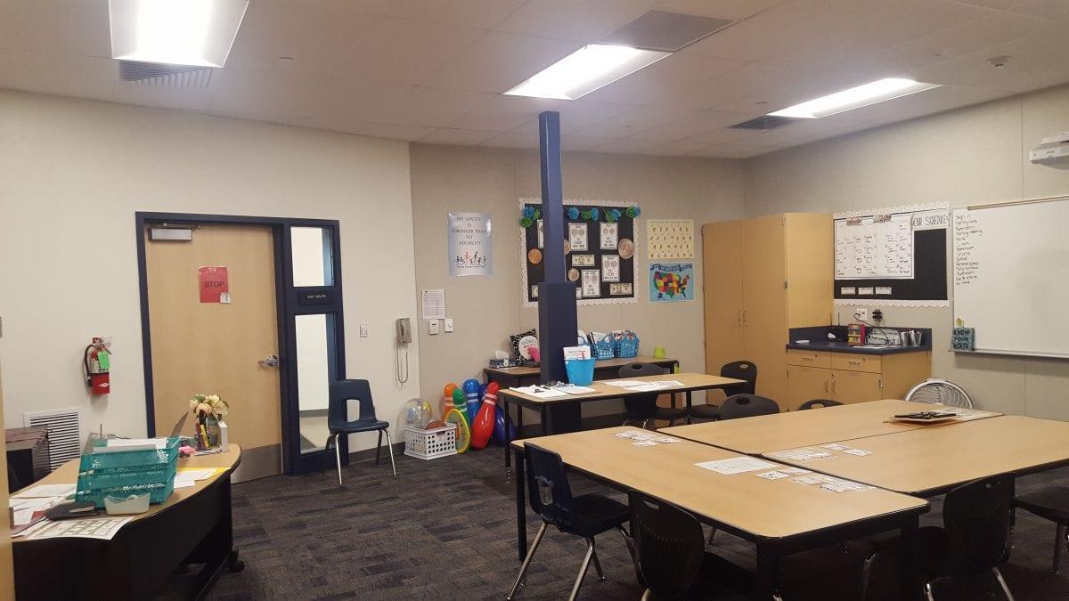 Inside a finished classroom