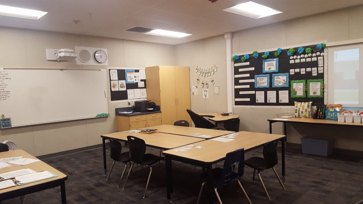 Classroom with a whiteboard, desks and chairs