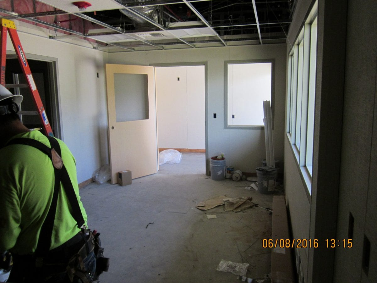 Small room and doorway under construction - 6/8/16