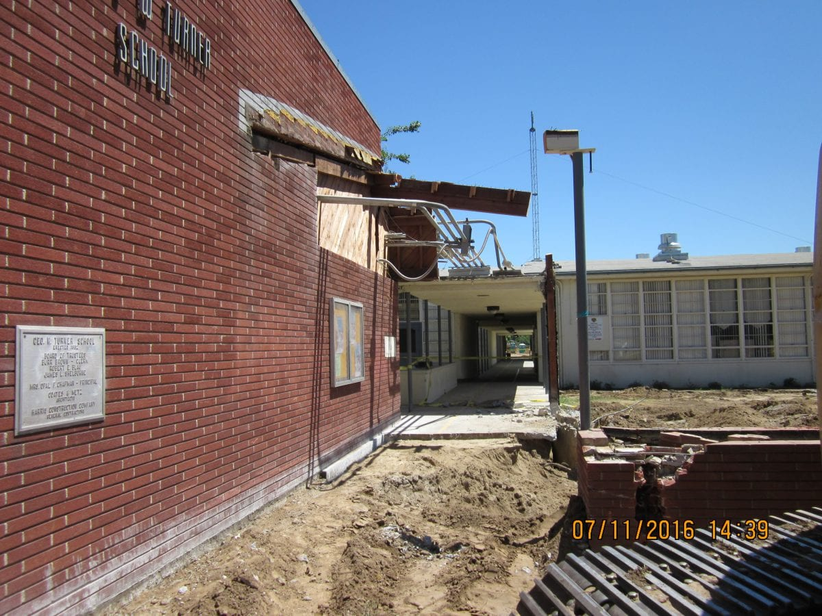 Outside of main brick building 7/16