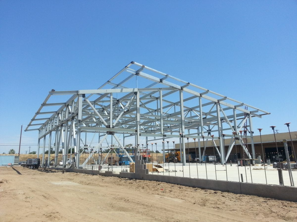 Metal framing of a large building 7/18