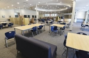 Wide area view of library near completion