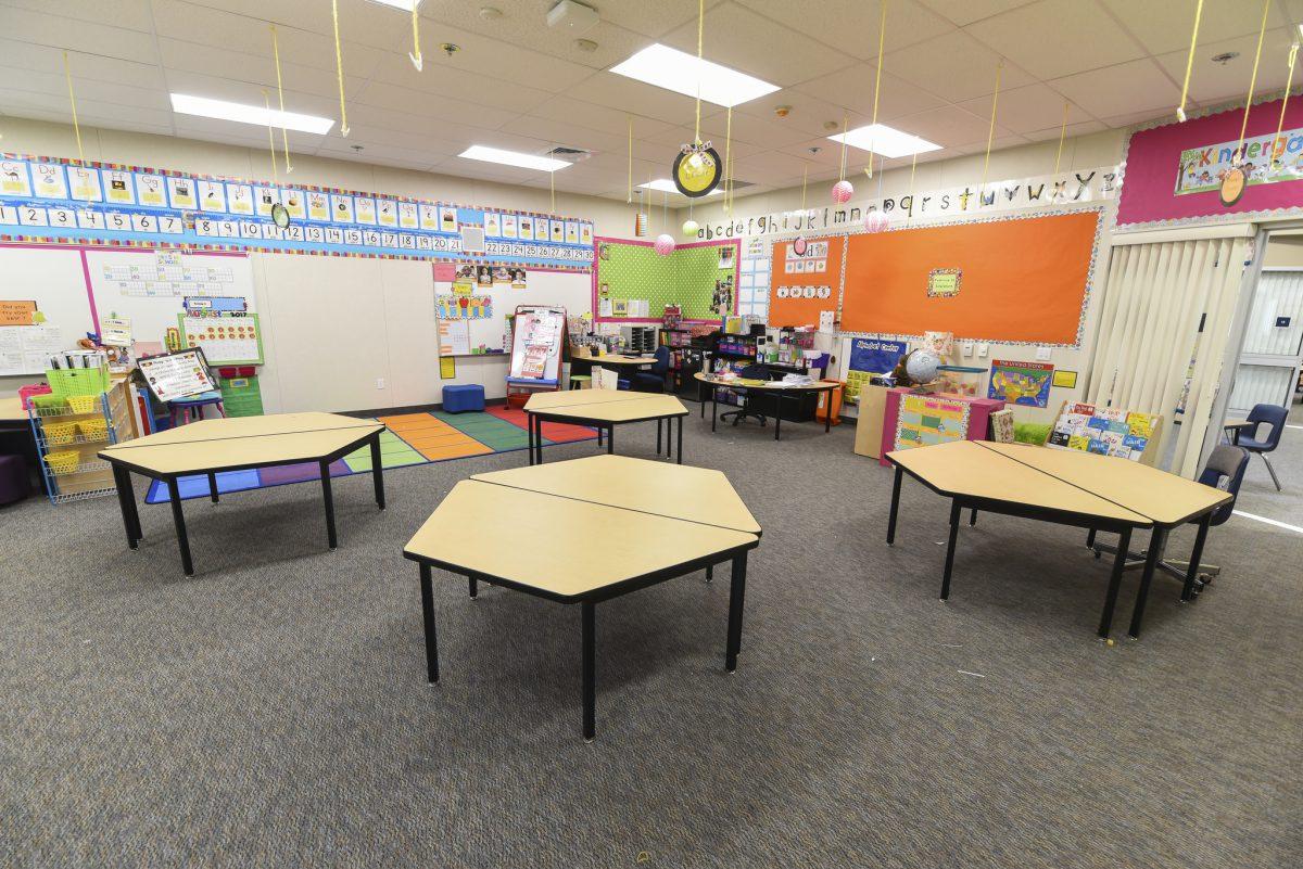 Inside kindergarten classroom with hexagonal tables 7/17