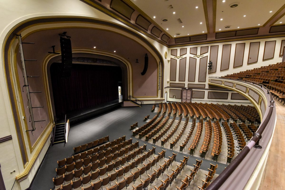 Top view of the stage and front seats