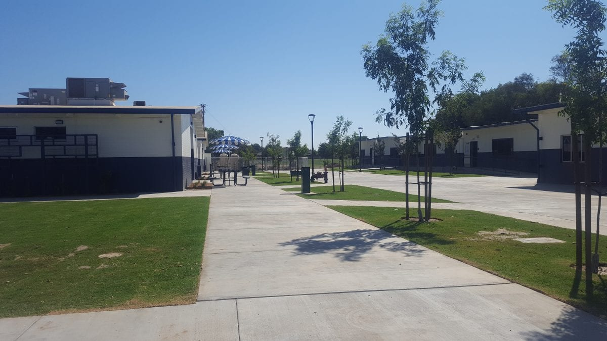 Outside view of class building and seating area