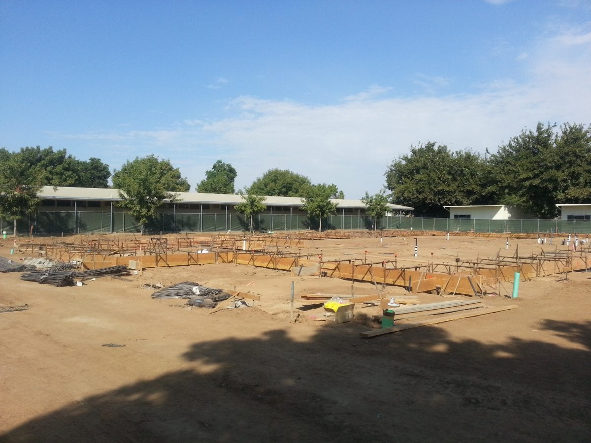 Wide view of partially done groundwork 9/16