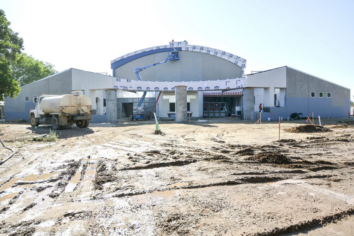 Wide view of outside building near completion 5/15