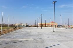 Unpainted concrete area