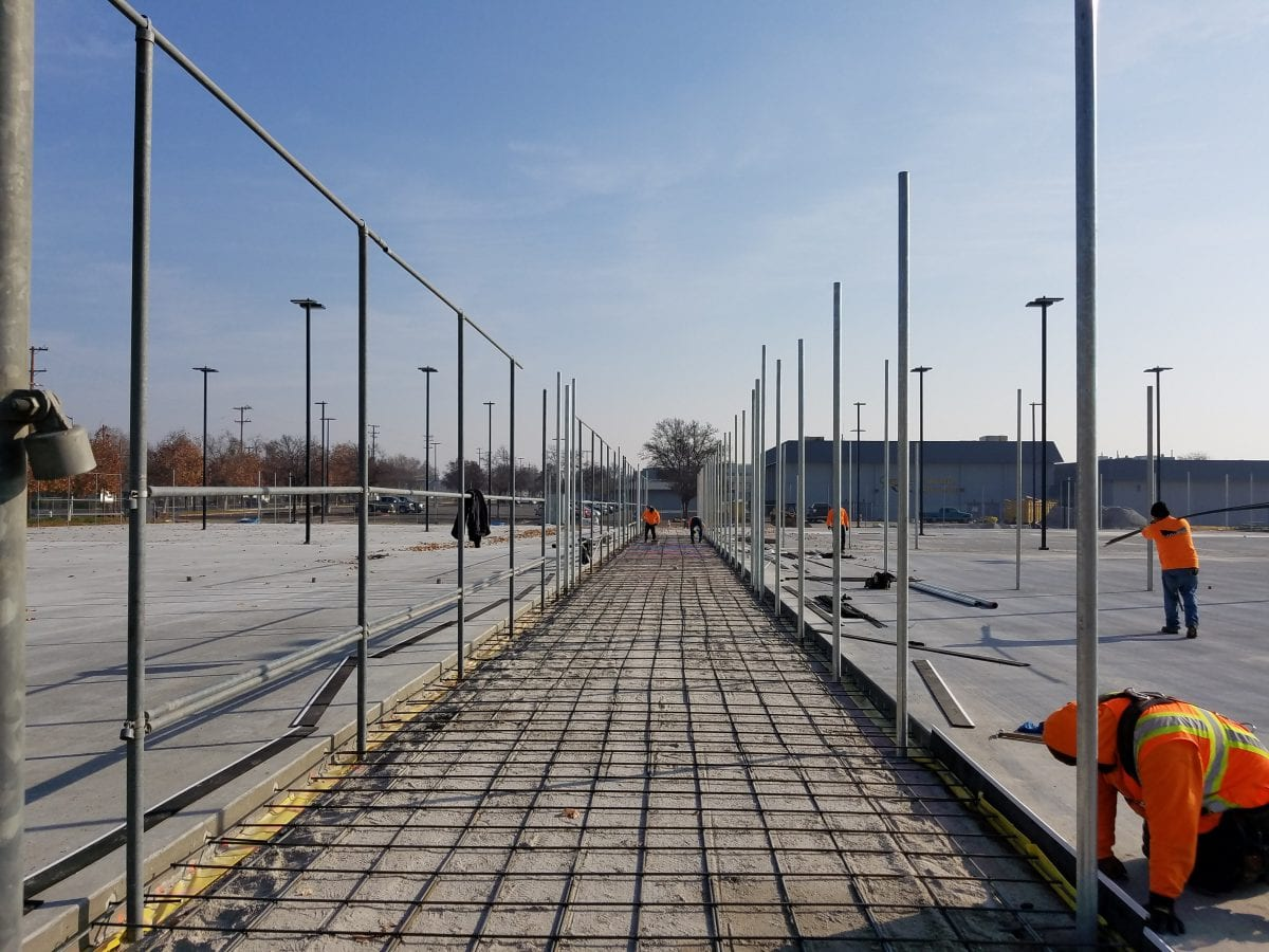 Construction of walkway between Edison courts 1/18