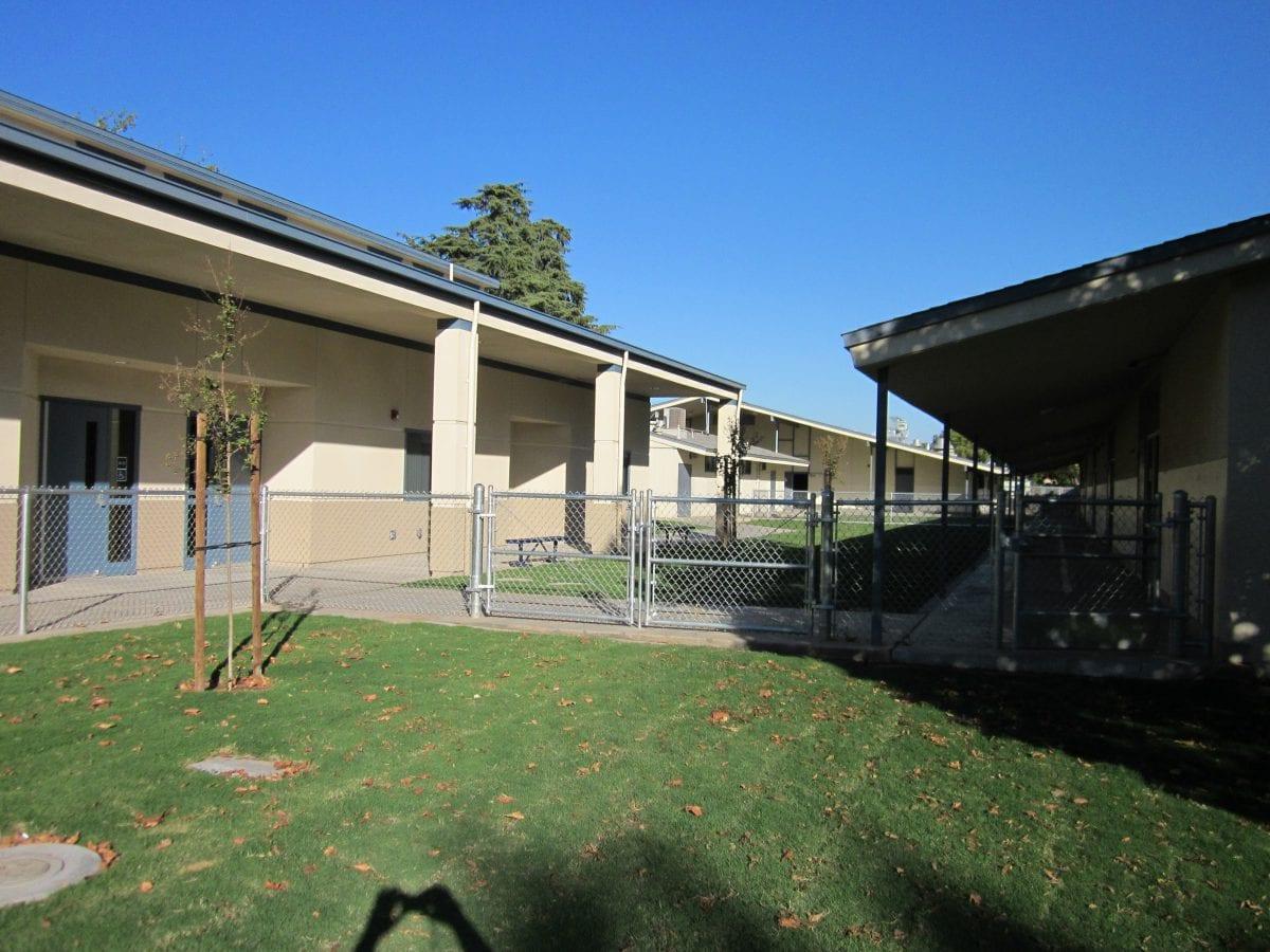 Grassy area between buildings 9/16