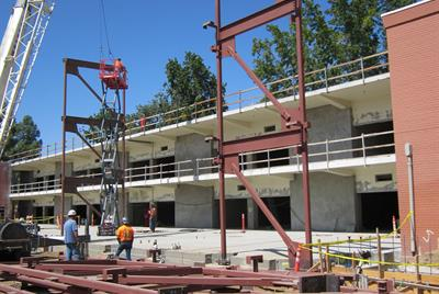 Crane placing support pillars 9/14
