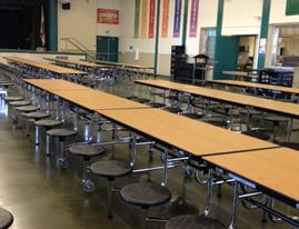 Sequoia long line of table in cafeteria
