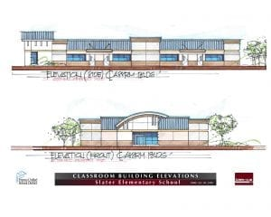 Drawing of classroom building elevations